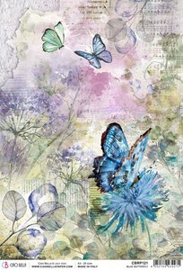 Papel de arroz Ciao Bella A4 Blue Butterfly