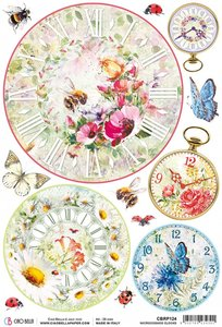 Papel de arroz Ciao Bella A4 Microcosmos Clocks