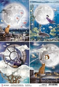 Papel de arroz Ciao Bella A4 Moon & Me Cards