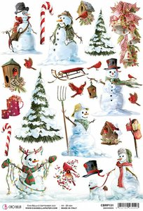 Papel de arroz Ciao Bella A4 Nothern Lights Snowmen