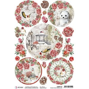 Papel de arroz Ciao Bella A4 Frozen Roses Medallions