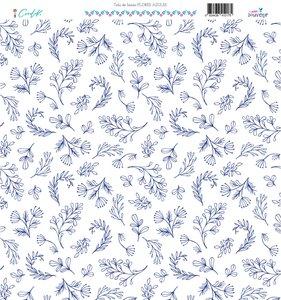 "Tela de lienzo 12x12"" Souvenir Flores azules"