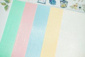 Kit cartulinas 12x12 Johanna Rivero Textura tela colores pastel