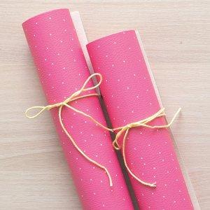 Falso cuero impreso Kimidori Colors Puntitos Rosa oscuro