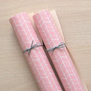 Falso cuero impreso Kimidori Colors Chevron Rosa