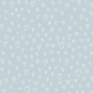 Falso cuero impreso Kimidori Colors corazones celestes