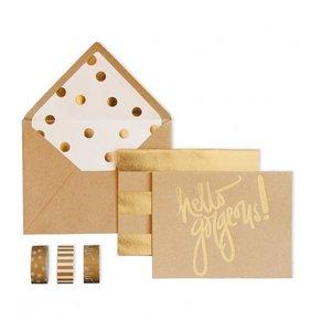Set de tarjetas Hello Gorgeous Kraft