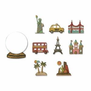Troqueles Thinlits Sizzix Tim Holtz Tiny Travel Globe