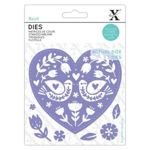 Troqueles Xcut Folk Bird Hearts 7 pcs