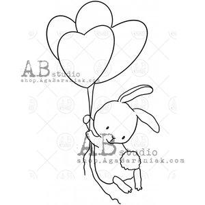 Sellos de caucho AB Studio ID-1108 Bunny with Balloons