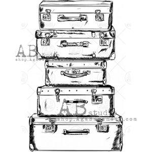 Sellos de caucho AB Studio ID-461 Vintage Suitcases 2