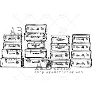 Sellos de caucho AB Studio ID-460 Vintage Suitcases