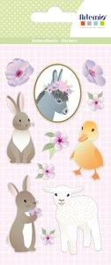 Pegatinas puffy Happy Spring Animales