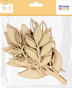 Siluetas de madera 3D Artemio Slow Life Feuillages 18 pcs
