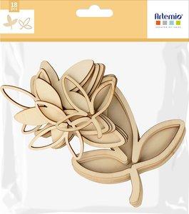 Siluetas de madera 3D Artemio Slow Life Feuilles Bois 18 pcs