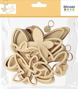 Siluetas de madera 3D Artemio Slow Life Fleurs Bois 36 pcs