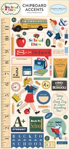 "Chipboard iconos 6x12"" Carta Bella School Days"