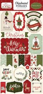 "Chipboard Frases 6x12"" Carta Bella Hello Christmas"