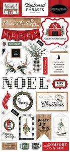 "Chipboard Frases 6x12"" Carta Bella Farmhouse Christmas"
