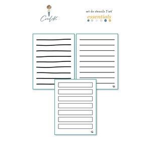 """3 Stencils 3x4"""" Journaling Essentials de Cocoloko"""
