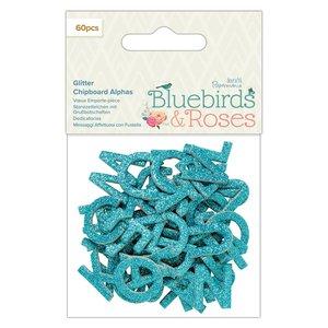 Alfabeto de chipboard con glitter Bluebirds & Roses