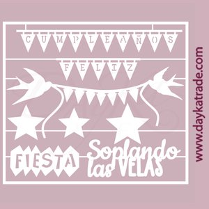 Dayka Set Banderines Cumpleaños Feliz de chipboard