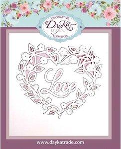 Chipboard Dayka Corazón Hojas Love
