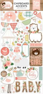 """Chipboard 6""""x12"""" Baby Girl Iconos"""