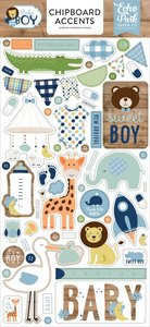 """Chipboard 6""""x12"""" Baby Boy Iconos"""