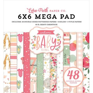 """Mega Pad 6x6"""" Echo Park Welcome Baby Girl Cardmakers"""