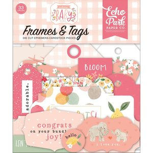 Die Cuts Echo Park Welcome Baby Girl Frames & Tags