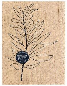 Sello de madera Florileges Or Saison FEUILLE AU VENT