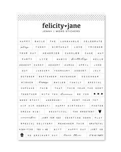 Pegatinas frases Felicity Jane Jenny