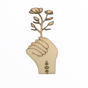 Silueta de madera Fridita Mystic Mano con Flor