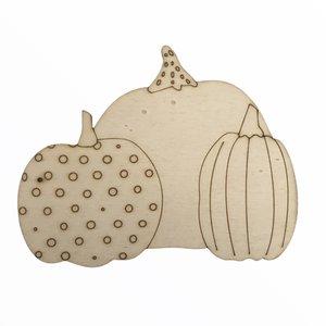 Silueta de madera Fridita Autumn Pumpkins 3 Calabazas