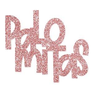 Título de metacrilato Scrap your life Palomitas Glitter Rosa
