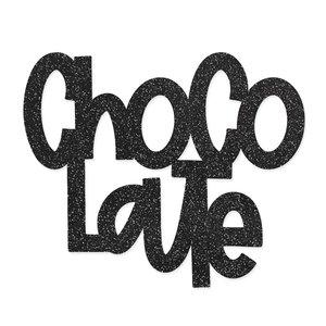 Título de metacrilato Scrap your life Chocolate Glitter negro