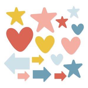 Set de metacrilatos corazones y estrellas