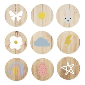 Set de maderas impresas Círculos Abril