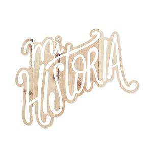 Título de madera impresa Mi historia