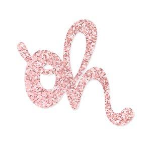 Título de metacrilato OH glitter rosa