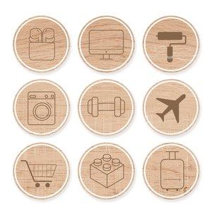 Set de maderitas My Story Iconos grabados