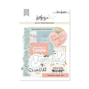 Die cuts Lettering con foil Baby M de Lora Bailora