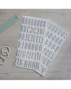 Alfabeto chipboard Rita Rita Azul