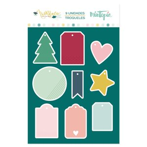 Troquel Mini Tags navideños Muérdago de Mintopía