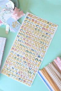 Alfabeto chipboard con foil Pétalos