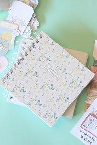 Cuaderno de espiral Flores azules y verdes