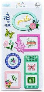 Marcos puffy adhesivos Happy Blooms de PinkFresh