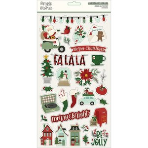 """Pegatinas de chipboard 6x12"""" Simple Stories Jingle All The Way"""