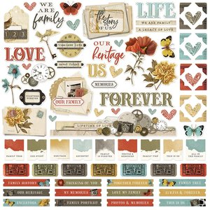 "Pegatinas 12x12"" Simple Stories SV Ancestry"